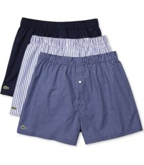 lacoste men's 3-pk. woven cotton boxers