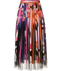 emilio pucci striped midi skirt - pink