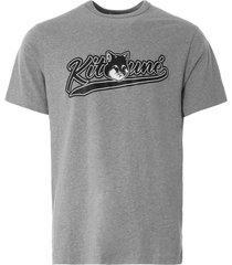 maison kitsune varsity fox classic t-shirt | grey melange | 120kj001-gy