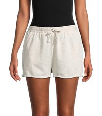 allison new york women's lettuce-cuff drawstring shorts - oatmeal - size l