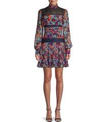 dina tropical mini silk dress