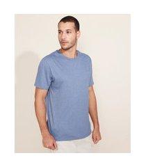 camiseta masculina básica manga curta gola careca azul