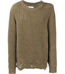 brown distressed crew-neck sweater