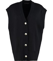 mother of pearl casey ribbed sleeveless cardigan