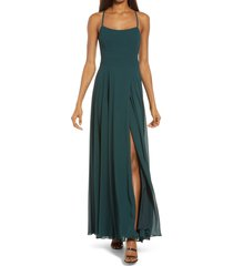 women's lulus dreamy romance backless maxi dress, size medium - green