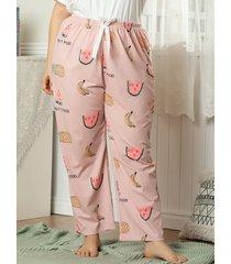 plus size watermelon banana pineapple print pajama bottoms