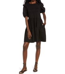 english factory eyelet sleeve knit dress, size x-small in black at nordstrom