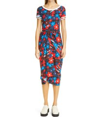 women's marni fitted rainbow floral print jersey dress, size 6 us - red