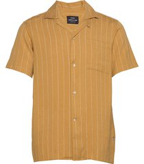 drapy stripe samson overhemd met korte mouwen geel mads nørgaard