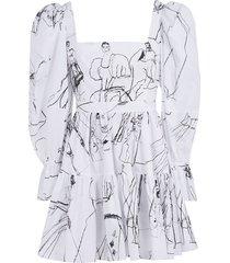 alexander mcqueen square neck printed dress