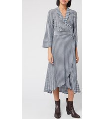 ganni women's checked printed crepe wrap dress - brunnera blue - eu 42/uk 14