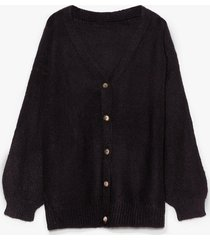 womens blowing hot air balloon sleeve cardigan - black