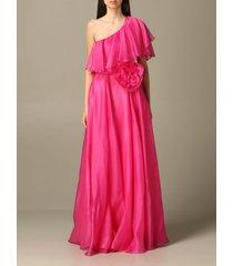 blumarine dress long blumarine dress in silk with ruffles