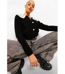 lange gewatteerde jas met kraag en ceintuur, black