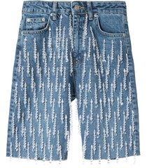dalood all-over pearl embroidered denim shorts - blue