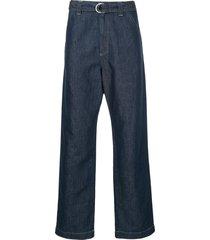 cerruti 1881 loose fit belted jeans - blue