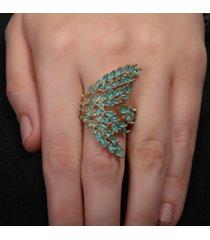 anel rosa pinhal galhos cravejados em cristais navete verde b. ouro 18k - dourado - feminino - dafiti