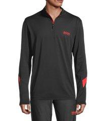 boss hugo boss men's piraq quarter-zip stretch sweatshirt - black - size xxl