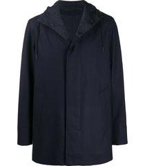 ermenegildo zegna hooded single-breasted jacket - blue
