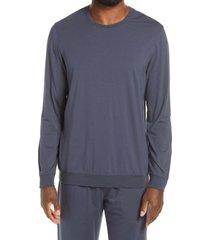 men's daniel buchler long sleeve cotton blend sleep shirt, size medium - grey