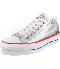 zapatilla  plateada converse  chuck taylor all star lift met
