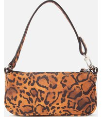 by far women's mini rachel suede shoulder bag - leopard print