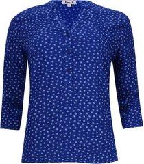 blusa estampado hojas color azul, talla s