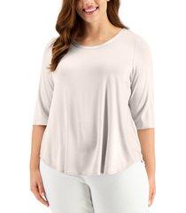 alfani plus size satin-trim t-shirt, created for macy's
