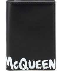 alexander mcqueen graffiti logo bi-fold card holder