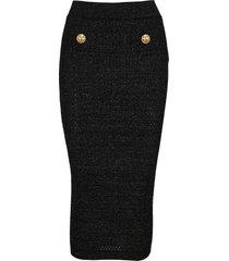 balmain high waist long lurex skirt