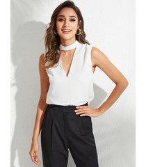yoins blusa sin mangas con recorte blanco