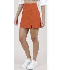 saia feminina curta com botões e fenda laranja