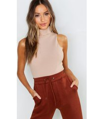 petite turtle neck rib top, stone