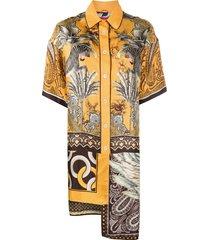 f.r.s for restless sleepers clio asymmetric shirt dress - orange