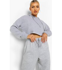 basic korte hoodie, grey marl