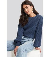 na-kd wool blend ribbed knitted sweater - blue