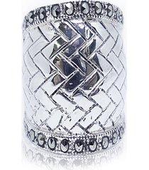 anel trançado com marcassita prata 925