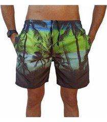 bermuda short coqueiro moda praia relaxado estampado masculina