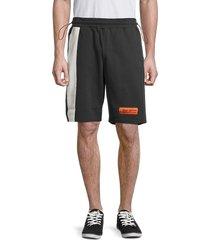 heron preston men's h-insert organic cotton fleece shorts - black - size s