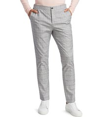 saks fifth avenue men's elastic-waist plaid pants - grey - size 36