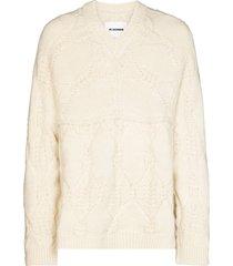 jil sander cable-knit mohair jumper - white