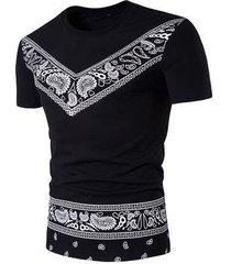 camiseta estampada estilo europeo y americano de manga corta con cuello redondo para hombre b108