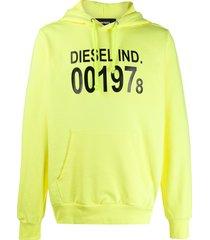diesel logo print front pocket hoodie - yellow