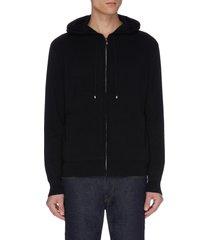 cashmere wool blend zip hoodie
