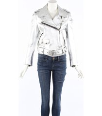 acne studios mape silver leather biker jacket silver sz: xs
