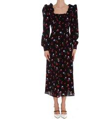 alessandra rich floral print silk dress with ruffles