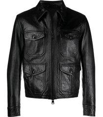 black zipped leather jacket