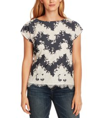 vince camuto mixed-media lace blouse