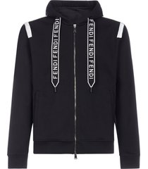fendi logo zip cotton hoodie