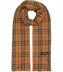 burberry embroidered vintage check lightweight cashmere scarf -
